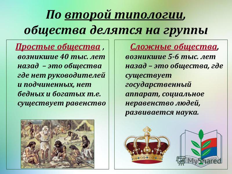 По второй типологии, общества делятся на группы Простые общества, возникшие 40 тыс. лет назад – это общества где нет руководителей и подчиненных, нет бедных и богатых т.е. существует равенство Сложные общества, возникшие 5-6 тыс. лет назад – это обще