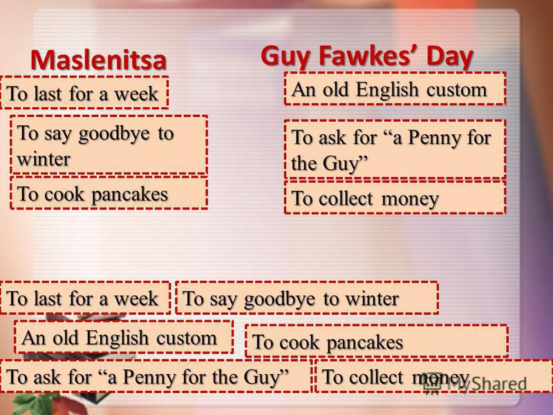 Maslenitsa Guy Fawkes Day To last for a week An old English custom To say goodbye to winter To ask for a Penny for the Guy To cook pancakes To collect money