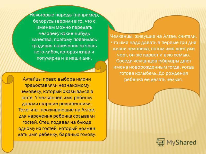Некоторые народы (например, белорусы) верили в то, что с именем можно передать человеку какие-нибудь качества, поэтому появилась традиция наречения «в честь кого-либо», которая жива и популярна и в наши дни. Челканцы, живущие на Алтае, считали, что и
