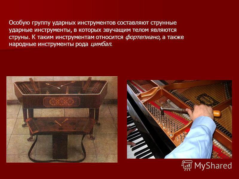 Особую группу ударных инструментнтов составляют струнные ударные инструментноты, в которых звучащим телом являются струны. К таким инструментнтам относится фортепиано, а также народные инструментноты рода цимбал.