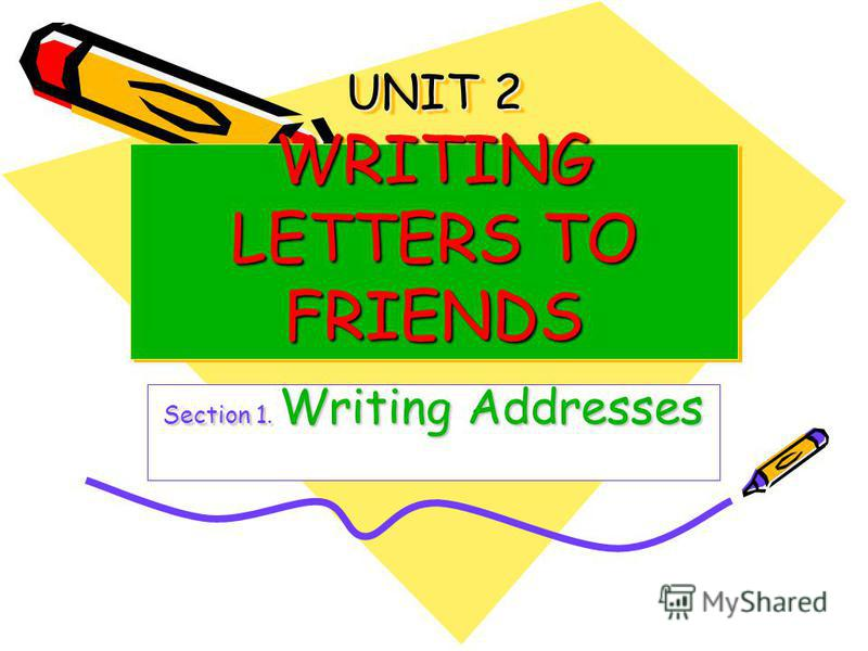 UNIT 2 WRITING LETTERS TO FRIENDS Section 1. Writing Addresses