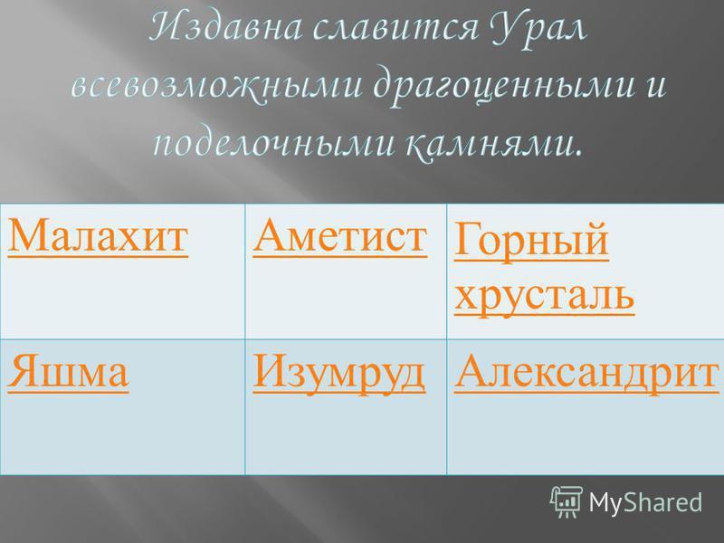 Малахит АметистГорный хрусталь Яшма ИзумрудАлександрит