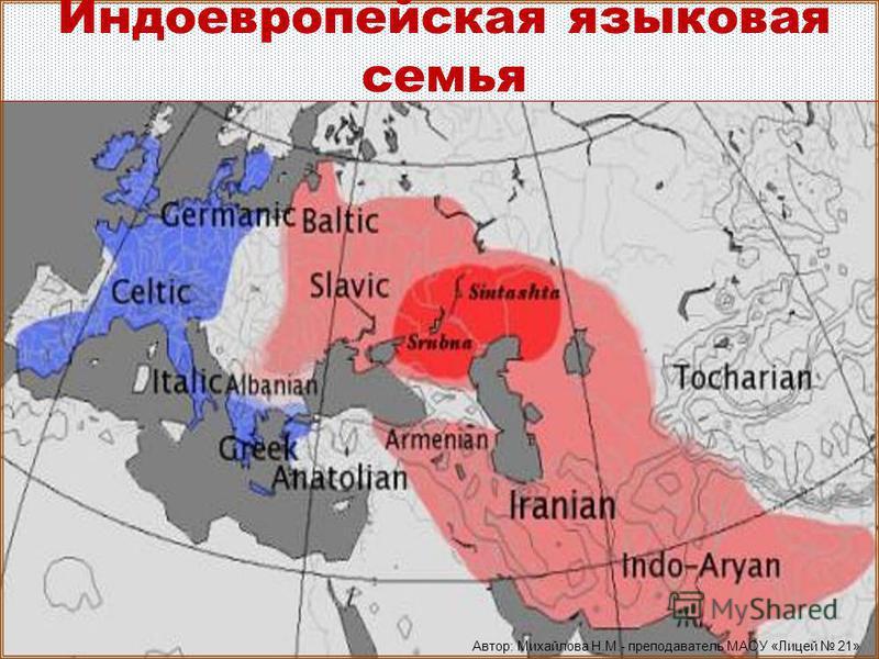 Индоевропейская языковая семья Автор: Михайлова Н.М.- преподаватель МАОУ «Лицей 21»