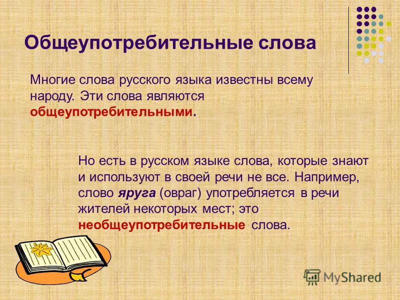 Общеупотребительные слова Многие слова русского языка известны всему народу. Эти слова являются общеупотребительными. Но есть в русском языке слова, которые знают и используют в своей речи не все. Например, слово яруга (овраг) употребляется в речи жи