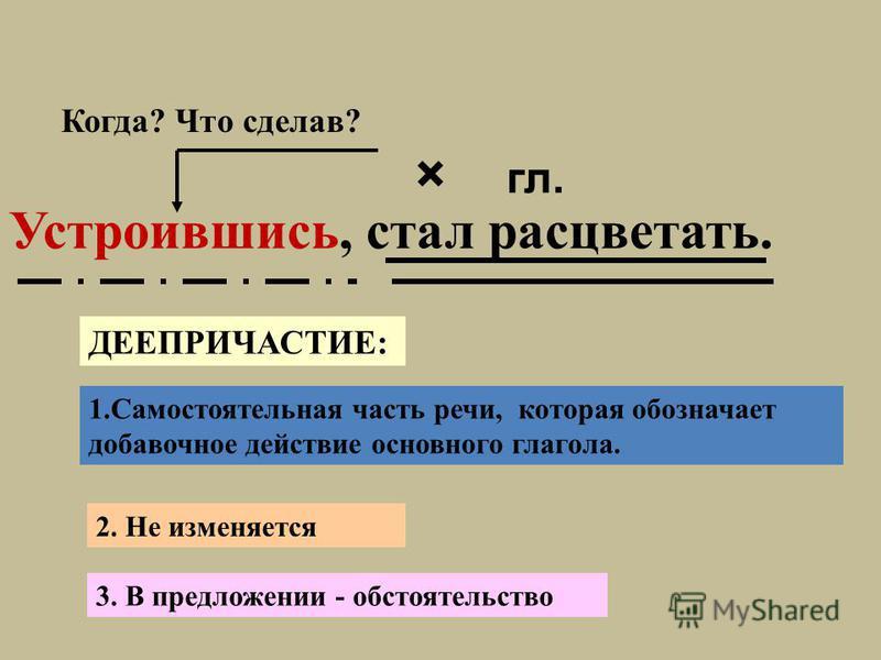 Устроившись, стал расцветать. × гл. Когда? Что сделав? 1. Самостоятельная часть речи, которая обозначает добавочное действие основного глагола. 3. В предложении - обстоятельство 2. Не изменяется ДЕЕПРИЧАСТИЕ: