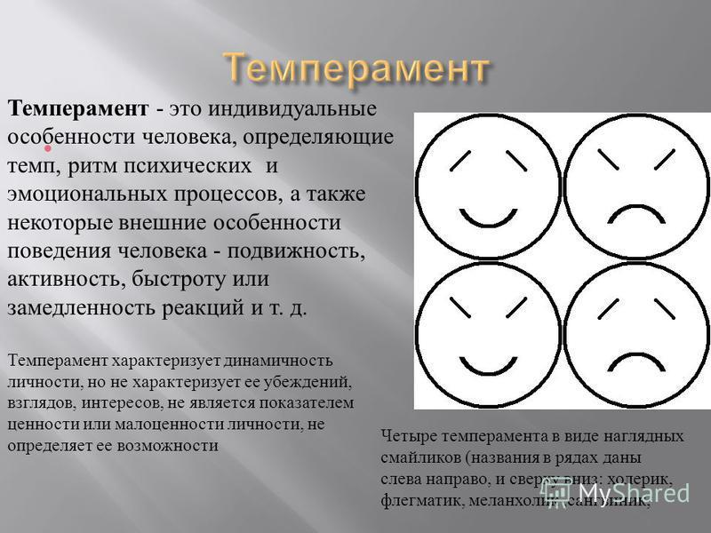 Темперамент - это индивидуальные особенности человека, определяющие темп, ритм психических и эмоциональных процессов, а также некоторые внешние особенности поведения человека - подвижность, активность, быстроту или замедленность реакций и т. д. Темпе