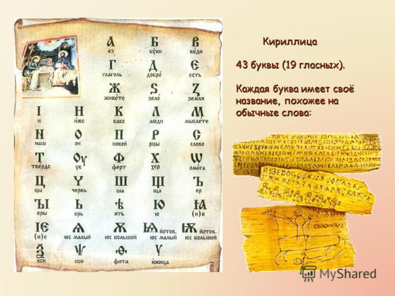 Кириллица 43 буквы (19 гласных). Каждая буква имеет своё название, похожее на обычные слова: