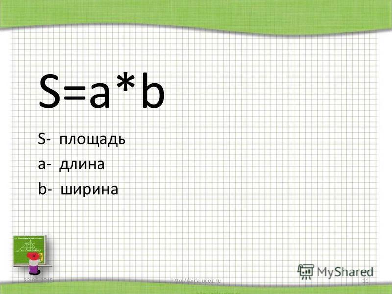 S=a*b S- площадь a- длина b- ширина 22.05.2015http://aida.ucoz.ru11