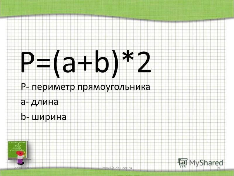 P=(a+b)*2 Р- периметр прямоугольника а- длина b- ширина 22.05.2015http://aida.ucoz.ru9