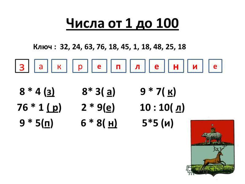 Числа от 1 до 100 8 * 4 (з) 8* 3( а) 9 * 7( к) 76 * 1 ( р) 2 * 9(е) 10 : 10( л) 9 * 5(п) 6 * 8( н) 5*5 (и) Ключ : 32, 24, 63, 76, 18, 45, 1, 18, 48, 25, 18 закрепление