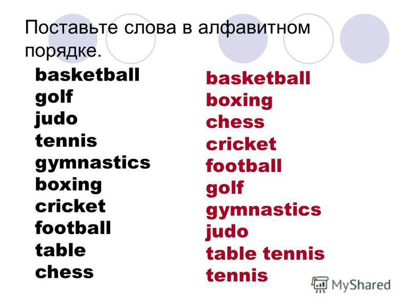 Поставьте слова в алфавитном порядке. basketball golf judo tennis gymnastics boxing cricket football table chess basketball boxing chess cricket football golf gymnastics judo table tennis tennis