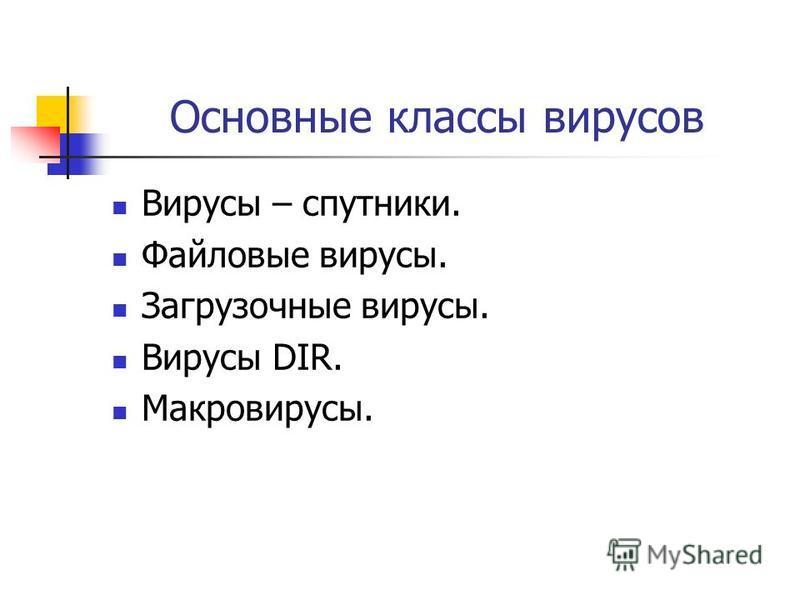 Основные классы вирусов Вирусы – спутники. Файловые вирусы. Загрузочные вирусы. Вирусы DIR. Макровирусы.