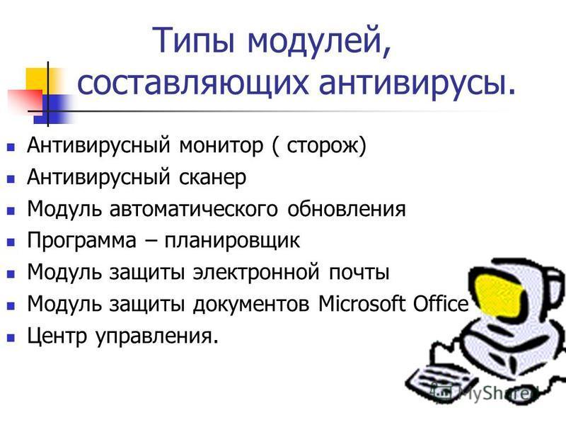 Типы модулей, составляющих антивирусы. Антивирусный монитор ( сторож) Антивирусный сканер Модуль автоматического обновления Программа – планировщик Модуль защиты электронной почты Модуль защиты документов Microsoft Office Центр управления.