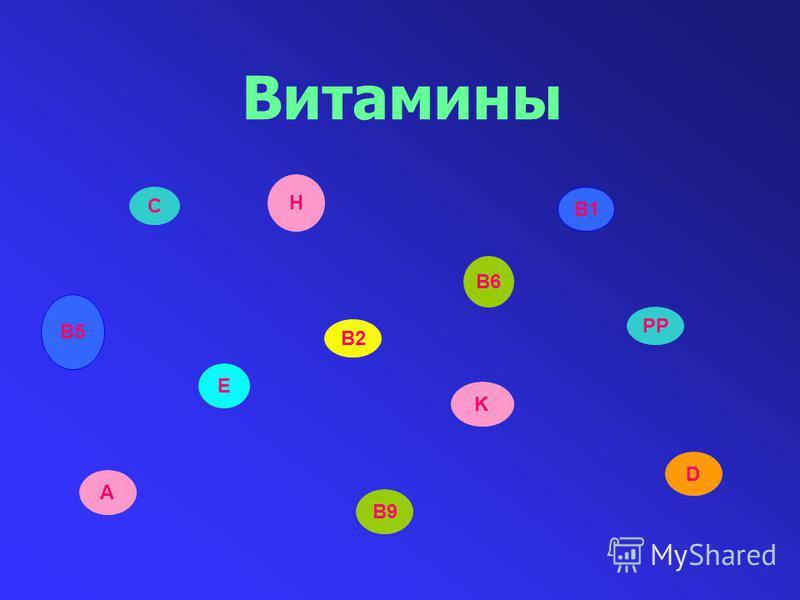 Витамины С E D K B1 A B9 B6 В5 PP H B2