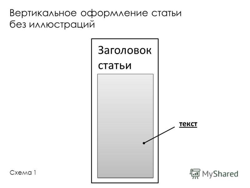 Заголовок статьи Вертикальное оформление статьи без иллюстраций текст Схема 1