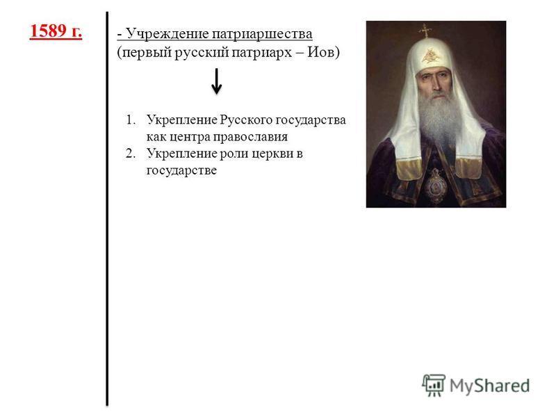 1589 г. - Учреждение патриаршества (первый русский патриарх – Иов) 1. Укрепление Русского государства как центра православия 2. Укрепление роли церкви в государстве