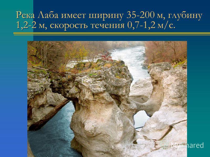 Река Лаба имеет ширину 35-200 м, глубину 1,2-2 м, скорость течения 0,7-1,2 м/с.