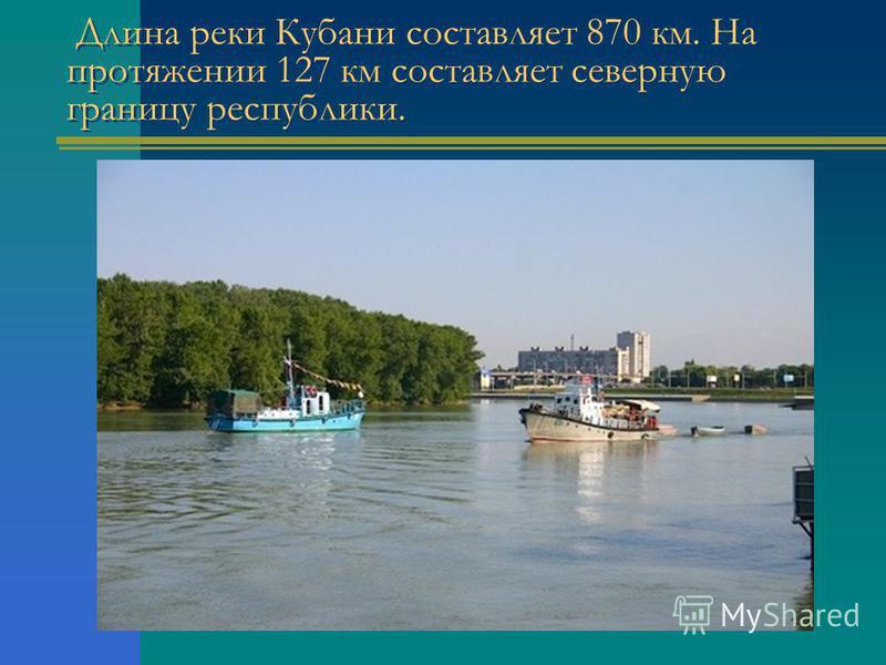 Длина реки Кубани составляет 870 км. На протяжении 127 км составляет северную границу республики.