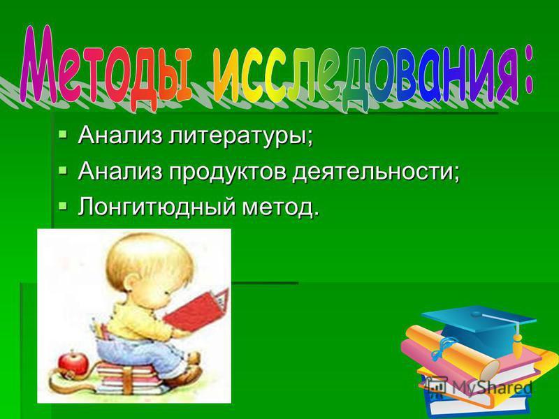 Анализ литературы; Анализ литературы; Анализ продуктов деятельности; Анализ продуктов деятельности; Лонгитюдный метод. Лонгитюдный метод.