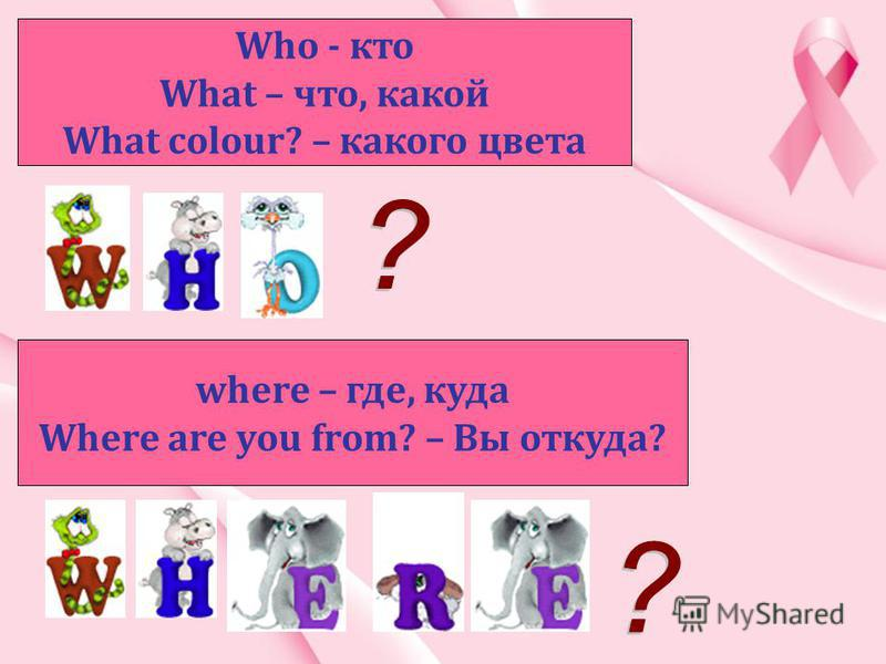 Who - кто What – что, какой What colour? – какого цвета where – где, куда Where are you from? – Вы откуда?