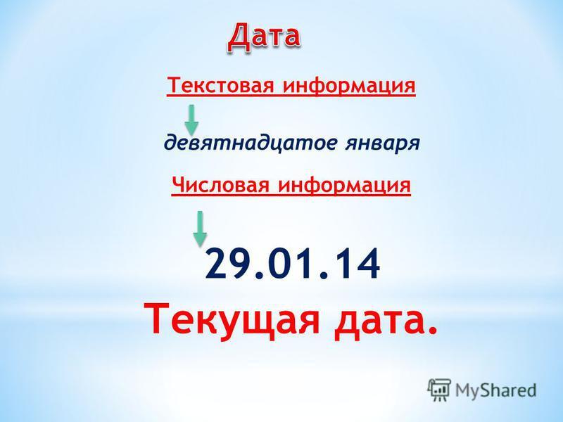 Текстовая информация девятнадцатое января Числовая информация 29.01.14 Текущая дата.