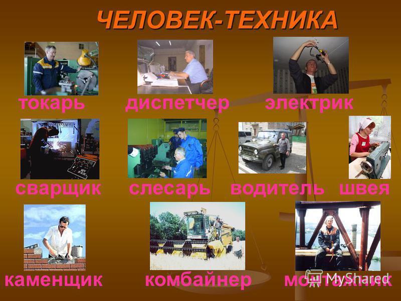 ЧЕЛОВЕК-ТЕХНИКА токарь диспетчер водитель монтажник слесарь комбайнер сварщик швея электрик каменщик