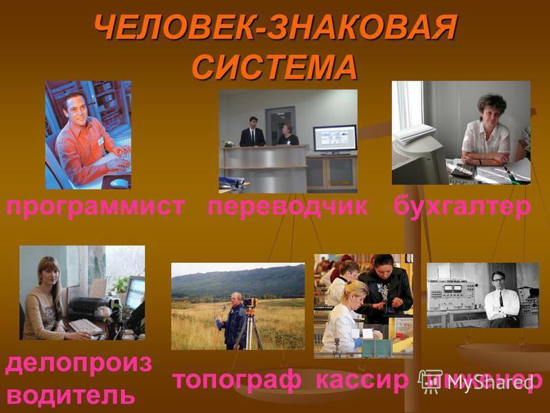 ЧЕЛОВЕК-ЗНАКОВАЯ СИСТЕМА программист бухгалтер делопроизводитель кассир переводчик топограф инженер