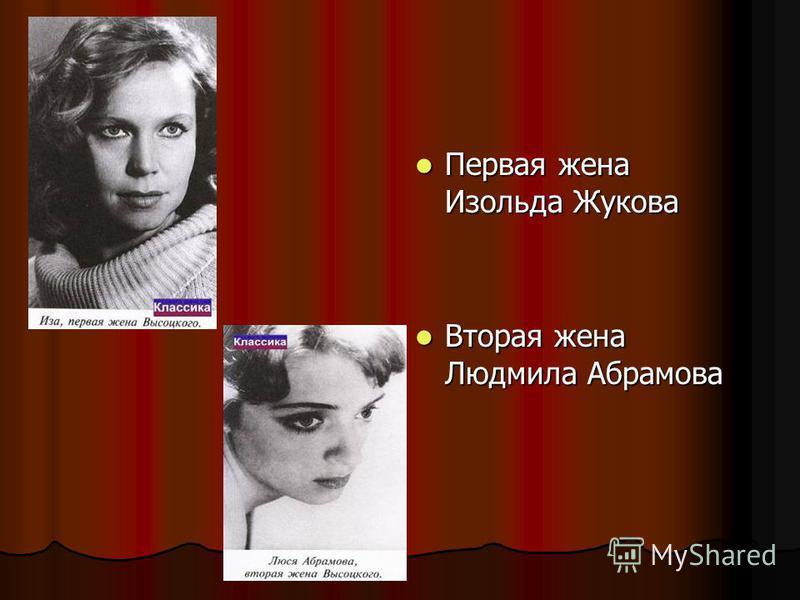 Первая жена Изольда Жукова Первая жена Изольда Жукова Вторая жена Людмила Абрамова Вторая жена Людмила Абрамова