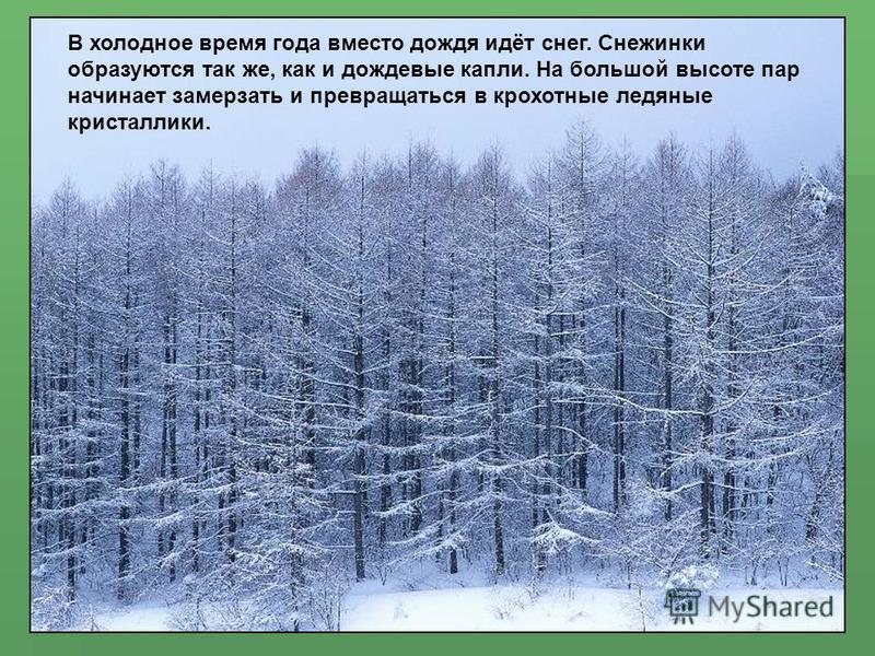 В холодное время года вместо дождя идёт снег. Снежинки образуются так же, как и дождевые капли. На большой высоте пар начинает замерзать и превращаться в крохотные ледяные кристаллики.