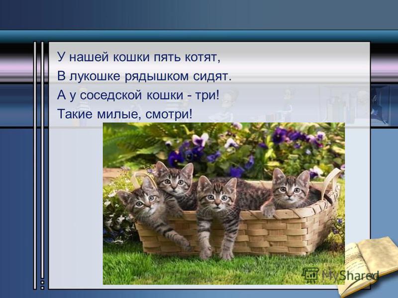 У нашей кошки пять котят, В лукошке рядышком сидят. А у соседской кошки - три! Такие милые, смотри!