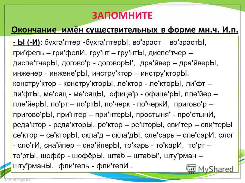 FokinaLida.75@mail.ru ЗАПОМНИТЕ Окончание имён существительных в форме мн.ч. И.п. - Ы (-И): бухга'лтер -бухга'лтерЫ, во'зраст – во'зрастЫ, гри'фель – гри'фелИ, гру'нт – гру'нтЫ, диспе'тчер – диспе'тчерЫ, догово'р - договорЫ', дра'йвер – дра'йверЫ, ин