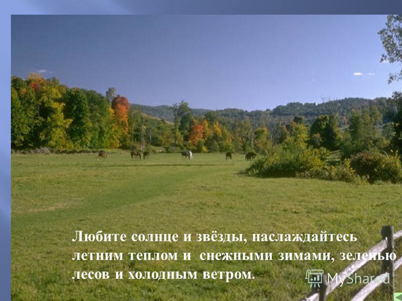 Любите солнце и звёзды, наслаждайтесь летним теплом и снежными зимами, зеленью лесов и холодным ветром.