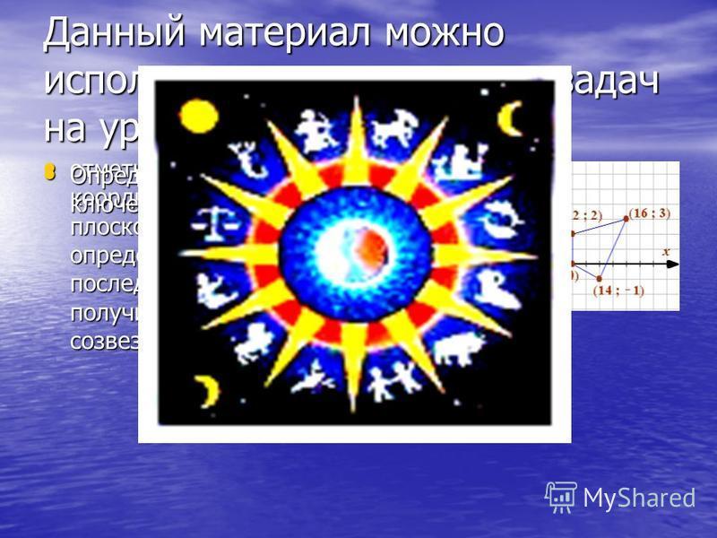 Данный материал можно использовать при решении задач на уроке математики: отметьте точки на координатной плоскости, соедините в определенной последовательности и получите изображение созвездия скорпиона Определите координаты ключевых точек