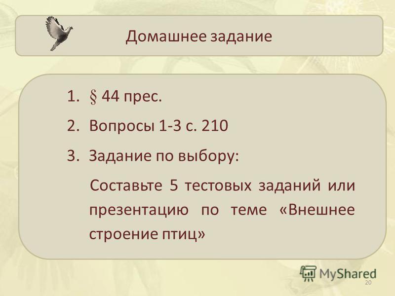 Домашнее задание 1.§ 44 пресс. 2. Вопросы 1-3 с. 210 3. Задание по выбору: Составьте 5 тестовых заданий или презентацию по теме «Внешнее строение птиц» 20