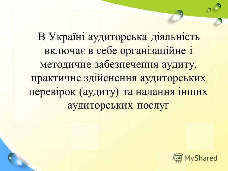 В Україні аудиторська діяльність включає в себе організаційне і методичне забезпечення аудиту, практичне здійснення аудиторських перевірок (аудиту) та надання інших аудиторських послуг