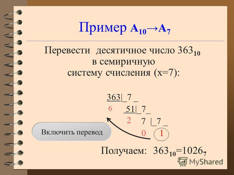 Пример А 10 А 7 Перевести десятичное число 363 10 в семеричную систему счисления (x=7): 363|_7 _ 51|_7_ 7 |_7 _ 1 Получаем: 363 10 =1026 7 6 2 Включить перевод 0