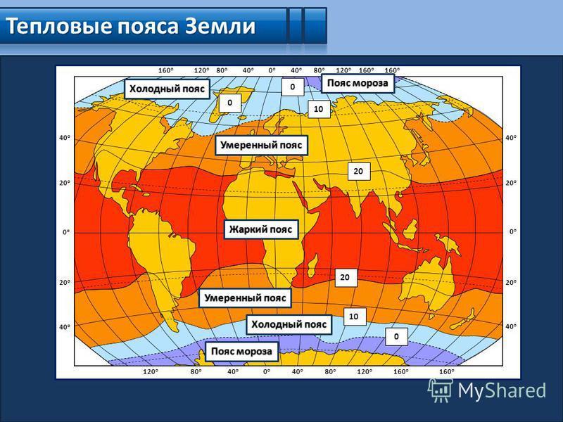 Тепловые пояса Земли 0 о 0 о 40 о 80 о 120 о 160 о 40 о 80 о 120 о 160 о 0 о 0 о 20 о 40 о 20 о 40 о 0 о 0 о 20 о 40 о 20 о 40 о 0 о 0 о 80 о 120 о 160 о 40 о 80 о 120 о 20 10 0 0 0 Пояс мороза Холодный пояс Умеренный пояс Жаркий пояс Умеренный пояс
