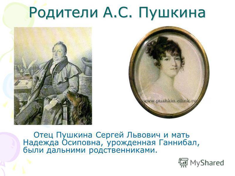 Родители А.С. Пушкина Отец Пушкина Сергей Львович и мать Надежда Осиповна, урожденная Ганнибал, были дальними родственниками.