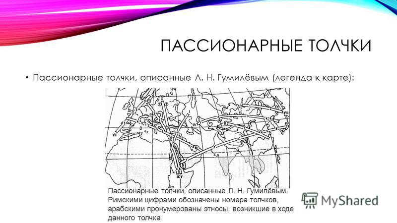 ПАССИОНАРНЫЕ ТОЛЧКИ Пассионарные толчки, описанные Л. Н. Гумилёвым (легенда к карте): Пассионарные толчки, описанные Л. Н. Гумилёвым. Римскими цифрами обозначены номера толчков, арабскими пронумерованы этносы, возникшие в ходе данного толчка