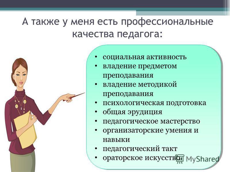 социальная активность владение предметом преподавания владение методикой преподавания психологическая подготовка общая эрудиция педагогическое мастерство организаторские умения и навыки педагогический такт ораторское искусство социальная активность в
