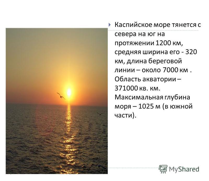 Каспийское море тянется с севера на юг на протяжении 1200 км, средняя ширина его - 320 км, длина береговой линии – около 7000 км. Область акватории – 371000 кв. км. Максимальная глубина моря – 1025 м ( в южной части ).