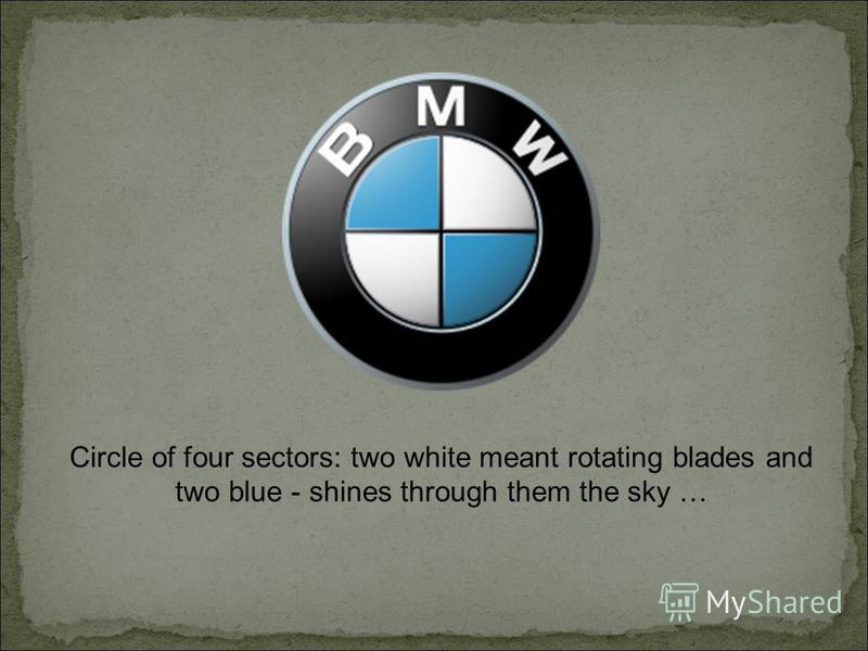 Circle of four sectors: two white meant rotating blades and two blue - shines through them the sky …