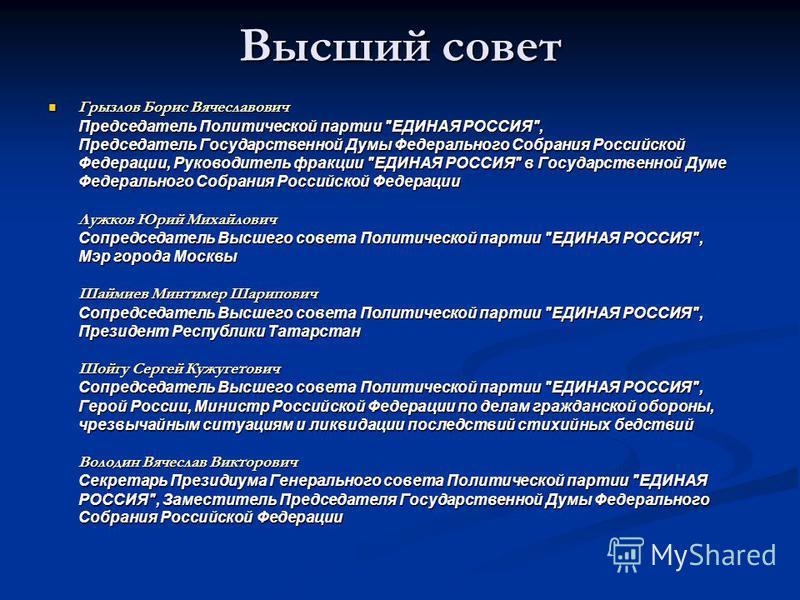 Высший совет Грызлов Борис Вячеславович Председатель Политической партии