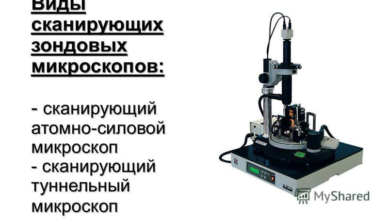 Виды сканирующих зондовых микроскоппов: - сканирующий атомно-силовой микроскопп - сканирующий туннельный микроскопп Виды сканирующих зондовых микроскоппов: - сканирующий атомно-силовой микроскопп - сканирующий туннельный микроскопп