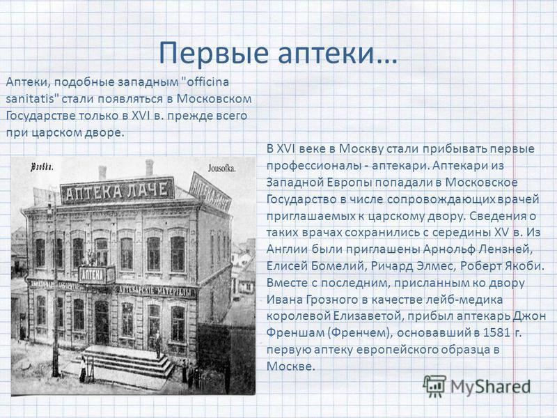 Первые аптеки… Аптеки, подобные западным