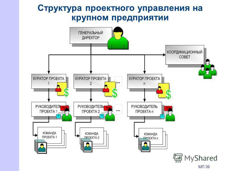 Структура проектного управления на крупном предприятии МП 39