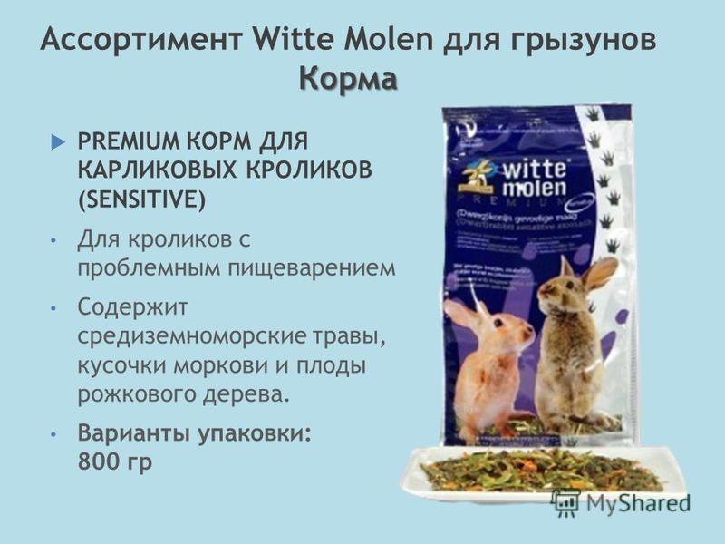 PREMIUM КОРМ ДЛЯ КАРЛИКОВЫХ КРОЛИКОВ (SENSITIVE) Для кроликов с проблемным пищеварением Содержит средиземноморские травы, кусочки моркови и плоды рожкового дерева. Варианты упаковки: 800 гр Корма Ассортимент Witte Molen для грызунов Корма