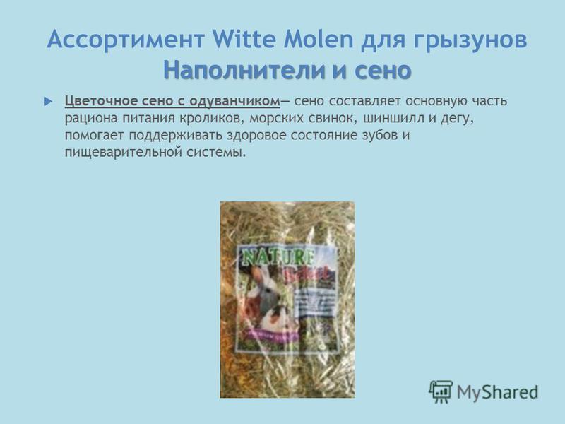 Наполнители и сено Ассортимент Witte Molen для грызунов Наполнители и сено Цветочное сено с одуванчиком сено составляет основную часть рациона питания кроликов, морских свинок, шиншилл и дегу, помогает поддерживать здоровое состояние зубов и пищевари