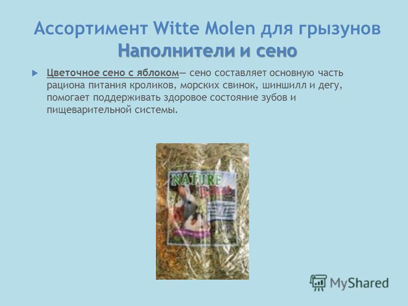 Наполнители и сено Ассортимент Witte Molen для грызунов Наполнители и сено Цветочное сено с яблоком сено составляет основную часть рациона питания кроликов, морских свинок, шиншилл и дегу, помогает поддерживать здоровое состояние зубов и пищеваритель