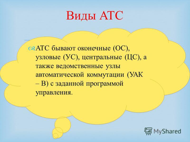 АТС бывают оконечные (ОС), узловые (УС), центральные (ЦС), а также ведомственные узлы автоматической коммутации (УАК – В) с заданной программой управления. Виды АТС